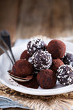 Healthy chocolate truffles Stock Photography