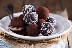 Healthy chocolate truffles Royalty Free Stock Image