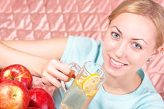 Healthy Choice. The healthy, beautiful girl propagandizes a healthy way of life stock photos