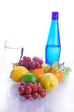 Healthy choice. Healthyt collection of fruits and bottled water Stock Image
