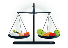 Healthy choice between pills and healthy food Royalty Free Stock Images