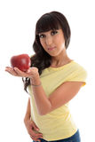 Healthy choice - woman holding fruit Royalty Free Stock Images