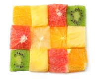 Healthy citrus fruit salad background. top view Stock Photography