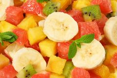 Healthy citrus fruit salad background. top view Royalty Free Stock Images