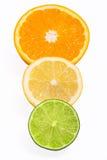 Healthy citrus fruity food. Slice of fresh orange, lemon, lime isolated on white background Royalty Free Stock Image