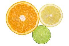 Healthy citrus fruity food. Slice of fresh orange, lemon, lime isolated on white background Royalty Free Stock Photography