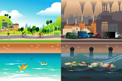 Healthy City Versus Polluted City Stock Photos