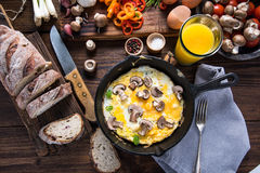Healthy and classic brunch, simple scrambeld eggs Royalty Free Stock Images