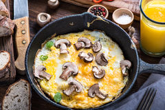 Healthy and classic brunch, simple scrambeld eggs Royalty Free Stock Photo