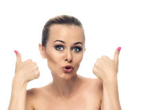 Healthy clean skin of beautiful young woman close- Royalty Free Stock Photos
