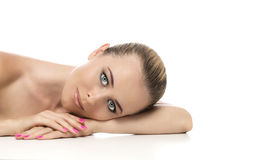 Healthy clean skin of beautiful young woman close- Royalty Free Stock Image