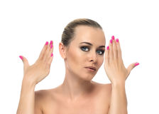 Healthy clean skin of beautiful young woman close- Stock Image