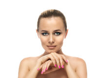 Healthy clean skin of beautiful young woman close- Stock Photos