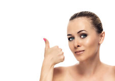 Healthy clean skin of beautiful young woman close- Stock Photo