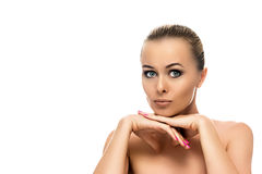 Healthy clean skin of beautiful young woman close- Royalty Free Stock Photography