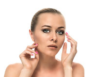 Healthy clean skin of beautiful young woman close- Stock Images