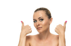 Healthy clean skin of beautiful young woman close- Stock Photography