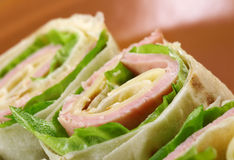 Healthy club sandwich pita bread roll Royalty Free Stock Photo