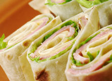 Healthy club sandwich pita bread roll Royalty Free Stock Images
