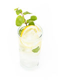 Healthy club soda with lemon and mint on white background Stock Photography