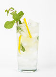 Healthy club soda with lemon and mint on white background Stock Photos