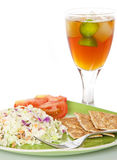 Healthy Cole Slaw Lunch. Cole slaw with whole wheat crackers and ice tea Royalty Free Stock Photography