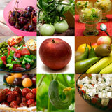 Healthy Collage. Collection of still-life macrophotos of fruits and vegetables meals Stock Images