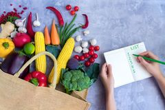 Healthy colorful summer vegetables and fruits stock image