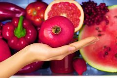 Healthy colorful summer vegetables and fruits stock photography