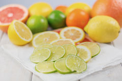 Healthy composition of lemon, lime, grapefruit and tangerine. Healthy composition of lemon, lime, grapefruit and tangerine packed with vitamin C royalty free stock images