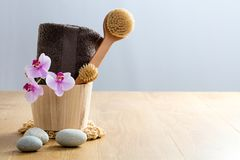Healthy concept of beauty and design: exfoliate, cleanse and massage royalty free stock photos