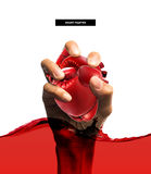 Healthy concept ,Heart shape made from boxing glove Stock Images