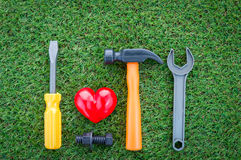 Healthy concept with red heart and tools on grass background Royalty Free Stock Image
