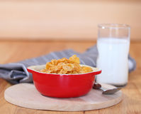 Healthy continental breakfast consists of cup of milk, bowl of c Royalty Free Stock Photography