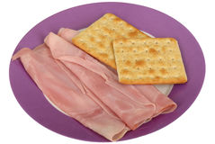 Healthy Cooked Ham Slices with Wholegrain Crackers Stock Photography