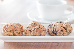Healthy cookies with coffee cup Stock Images