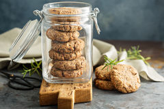 Healthy cookies in a glass jar Stock Photos