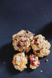Healthy cookies. For the kids with dried apricots, cranberries and raisins Stock Image