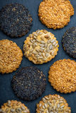 Healthy cookies with seeds, food background from above Stock Photography