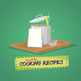 Healthy cooking recipes. Cooking pot and utensils book with recipes.Vector Stock Photos