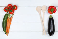 Healthy cooking with vegetarian vegetables ingredients and copys Stock Photography