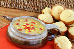 Healthy Corn Chowder with Muffins Royalty Free Stock Image
