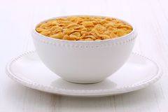 Healthy corn flakes breakfast. Delicious and nutritious breakfast corn flakes on retro vintage styling Stock Image
