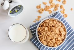 Healthy Corn Flakes with milk for Breakfast on table Stock Image