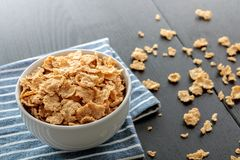Healthy Corn Flakes with milk for Breakfast on table Royalty Free Stock Photography