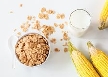 Healthy Corn Flakes with milk for Breakfast on table Stock Photos