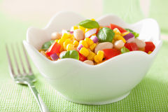 Free Healthy Corn Salad With Tomato Onion White Bean Basil Stock Images - 55177654