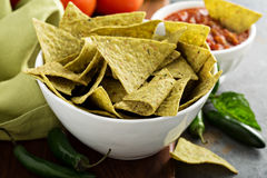 Healthy corn tortilla chips with spinach and flax seeds Stock Photography