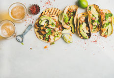 Healthy corn tortillas with grilled chicken, avocado, lime, beer Royalty Free Stock Photos