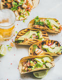 Healthy corn tortillas with grilled chicken fillet, avocado and beer Royalty Free Stock Photo